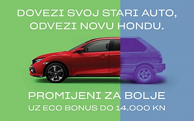 Honda Civic uz eko-bonus do 14.000kn u zamjeni staro za novo